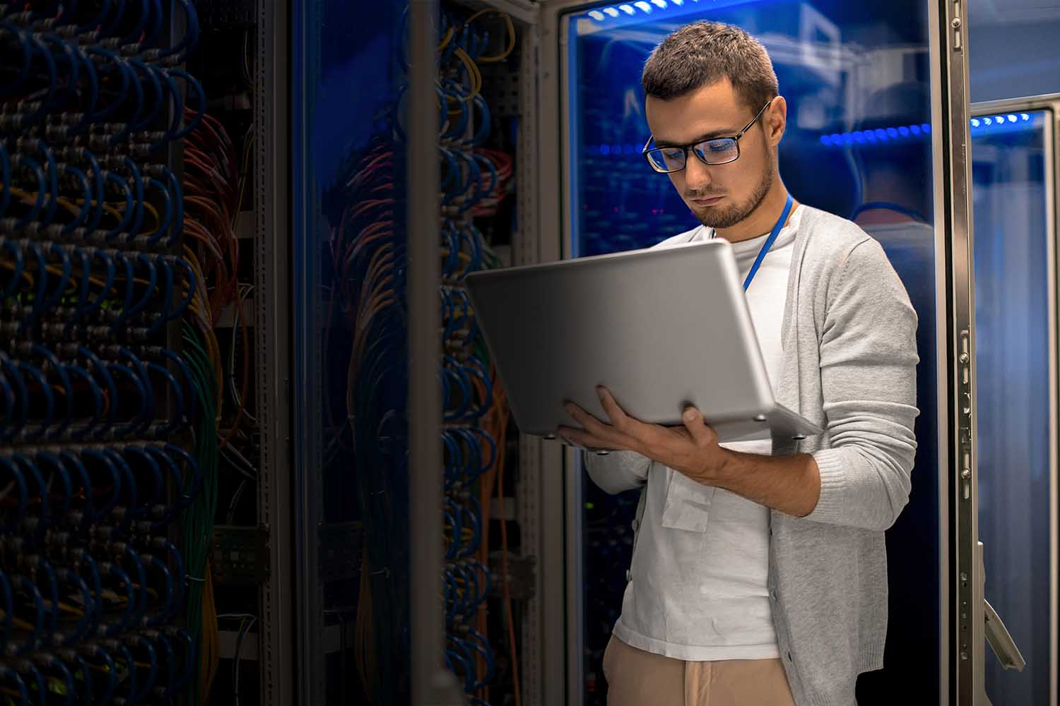 man using colocation from a remote location