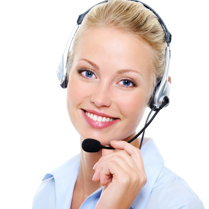 Face of beautiful smiling happy woman in headset