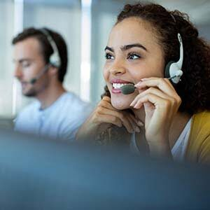 female customer service agent in headset