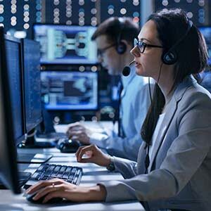 technical support agents in headsets